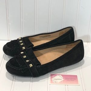 Vionic Thera Moccasin Fringe Studded Black
